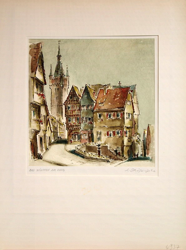 Schaefer-Grohe-Bad-Wimpfen-am-Berg-Orig-Aquarell
